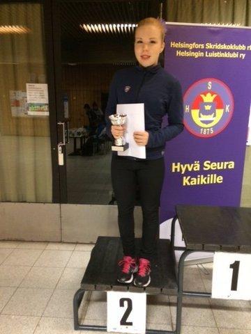 Junior A -sarjan hopeamitalisti Pinja Kallela